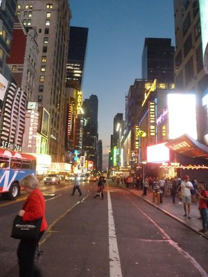 The Broadway theatres along West 42nd Street from Times Square