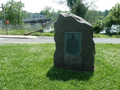 The memorial on the New Jersey side of the Delaware River at Washington Crossing