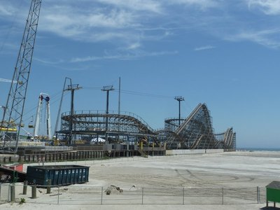 The 'Great White' classic style rollercoaster on the beach at Wildwood