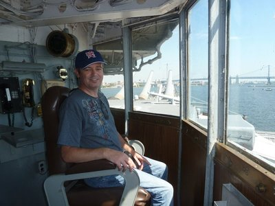 Me sat in Admiral Helsey's chair on the Navigation Bridge aboard the USS New Jersey