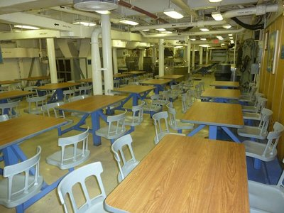 A 'Mess Deck' for enlisted men aboard the USS New Jersey