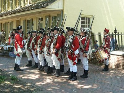 The British Loyalists prepare to march off from the Indian King Tavern in Haddonfield