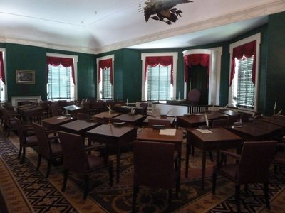 The Senate Chamber on the upper floor of Congress Hall