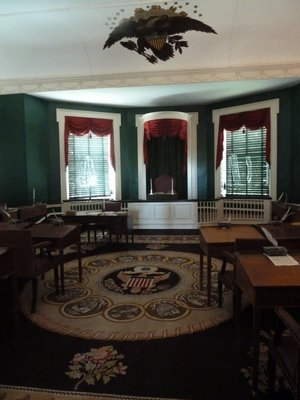 The Senate Chamber at Congress Hall including the carpet with the shields of the original 13 states