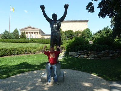 Me doing my Rocky impression by the Rocky Balboa Statue outside the Philadelphia Museum of Art