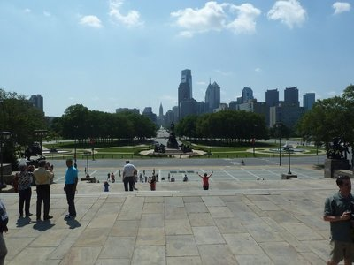 The view down the Benjamin Franklin Parkway from the steps of the Philadelphia Museum of Art