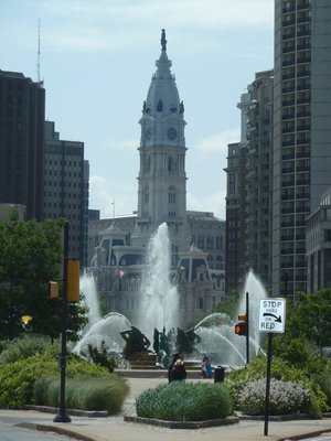 The Swann Memorial Fountain midway along the Benjamin Franklin Parkway