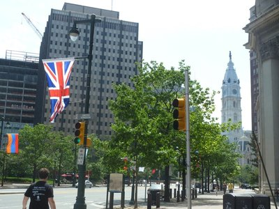 The UK Flag lining the Benjamin Franklin Parkway near the Logan Circle