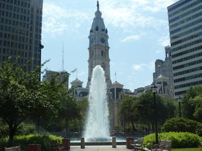 Philadelphia City Hall behind the Love Park Fountain