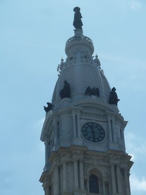 Close up of William Penn's Statue on top of Philadelphia City Hall - was the 'Curse of Billy Penn' true?