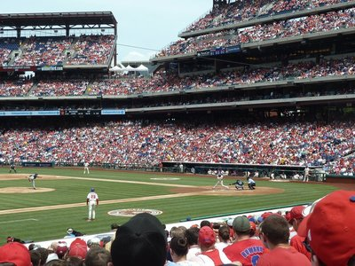 Action shot as the Brewers pitch at the Phillies