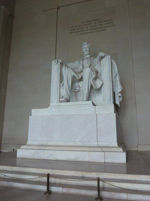 Lincoln's Statue inside his Memorial on the National Mall
