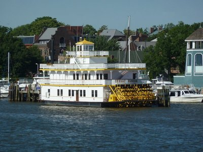 The Cherry Blossom Paddle Steamer moored up at Alexandria