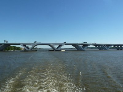 The bascule span of the Woodrow Wilson Bridge carrying the Capitol Beltway Interstate across the Potomac River