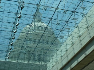 The view of the Capitol Dome through the glass roof of the Visitor Center