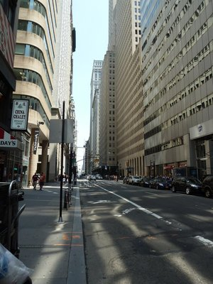 Lower Broadway in the Financial District down which ticker tape parades are held