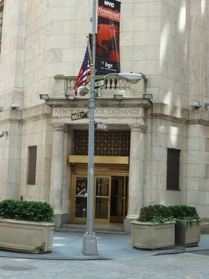 The back entrance to the New York Stock Exchange on Wall Street