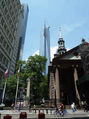 One World Trade Center under construction behind St Pauls Chapel on Lower Broadway