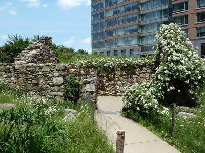 Close up of the cottage ruins at the centre of the Irish Hunger Memorial