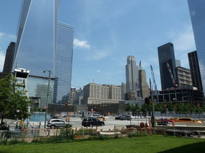 One World Trade Center and other construction work underway around the National September 11 Memorial