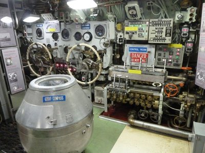 The Control Room aboard USS Becuna