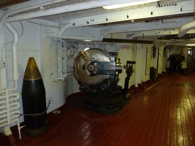 5 inch gun mounted in a casemate below deck