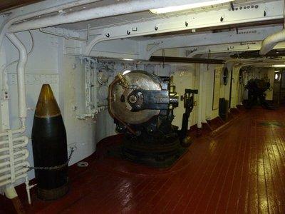 5 inch gun mounted in a casemate below deck