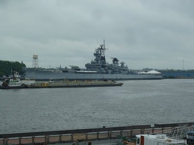 The view of the USS New Jersey from the bridge of the USS Olympia