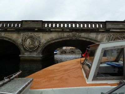 Our tour boat going under a low bridge on the Fredericksholms Kanal