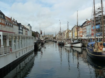 Looking down on Nyhavn from a bridge