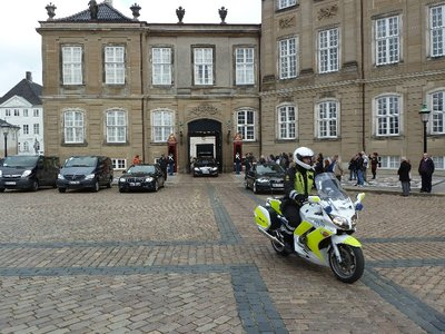 It turned out there was a state visit and whoever it was was about to leave the Amalienborg Palace