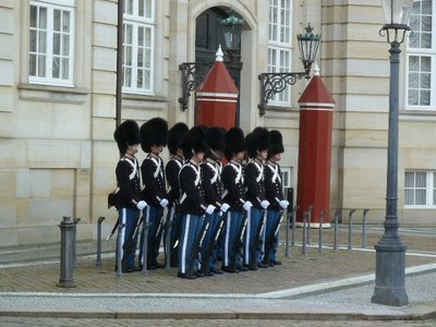 Guards waiting to be changed at the Amalienborg Palace