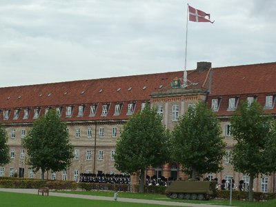 The guards arrive back at their barracks after Changing the Guard at the Amalienborg Palace