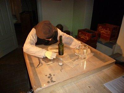 A drunken member of staff in the Carlsberg Brewhouse