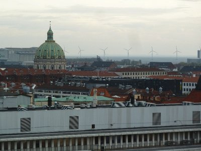 The view north east from the Rundetarn towards the dome of the Marmorkirken and the Amalienborg Slot