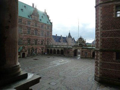 Looking down on the internal courtyard from inside Frederiksborg Slot