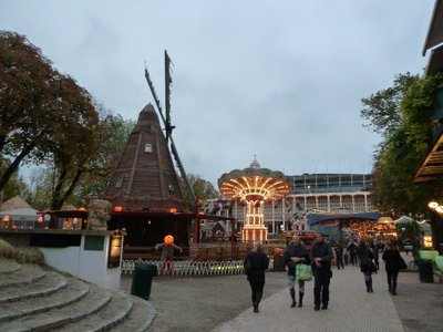 The Windmill and an illuminated carousel at Tivoli