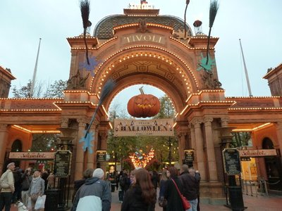 The main entrance into Tivoli all themed up for Hallowe'en
