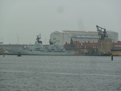 Danish Frigate moor<br />Ved by the Masterkranen (Mast Crane) at Holmen Naval them
