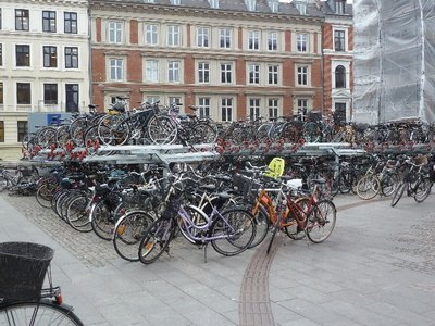 Double decker bicycle storage outside Copenhagen Station