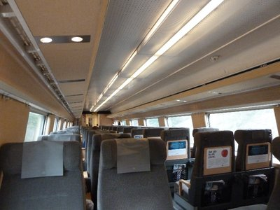 Inside a Swedish high-speed train to Stockholm - before all the people got on a couple of stops on