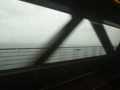 Going over the Oresund Bridge in train to Sweden - unfortunately the weather was awful so no views!