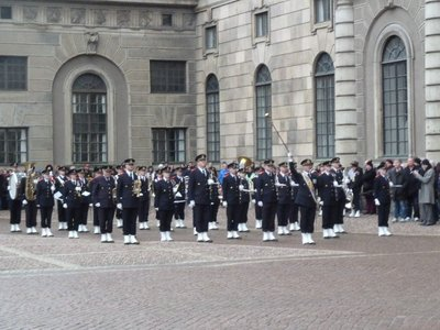The band playing at the Changing of the Guard outside the Kungliga Slottet