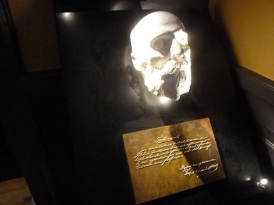 Alfred Nobel's death mask on display in the Nobel Museum