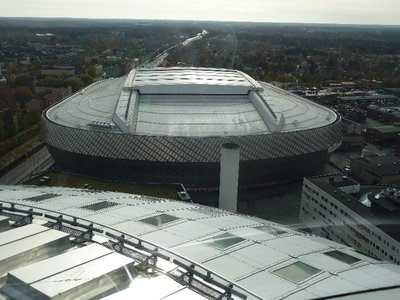 Looking down on the 30,000 seat Tele2 Arena from Skyview