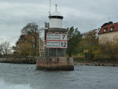 An automated lighthouse on the approaches into Stockholm