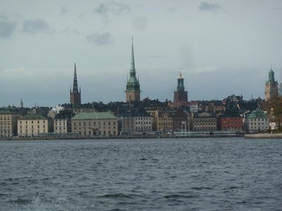 The Stockholm skyline comes into view on the return leg of our tour