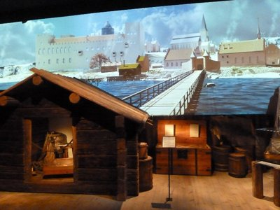Workers huts and the bridge into the city recreated in the Museum of Medieval Stockholm