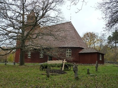 Swedish Church at Skansen, complete with freshly dug grave and coffin on a cart!