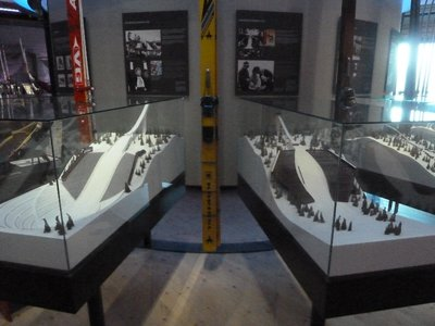 Models in the Ski Museum of the Holmenkollen Ski Jump as it was in 1952 and 1982